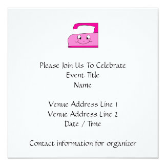 Pink Iron Cartoon. On White. 5.25x5.25 Square Paper Invitation Card