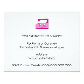 Pink Iron Cartoon. On White. 4.25x5.5 Paper Invitation Card