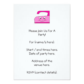 Pink Iron Cartoon. On White. 6.5x8.75 Paper Invitation Card