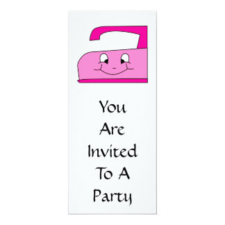 Pink Iron Cartoon. On White. 4x9.25 Paper Invitation Card