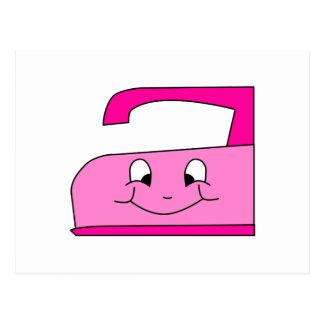 Pink Iron Cartoon. On White. Postcard
