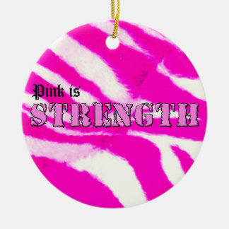 Pink is Strength Double-Sided Ceramic Round Christmas Ornament