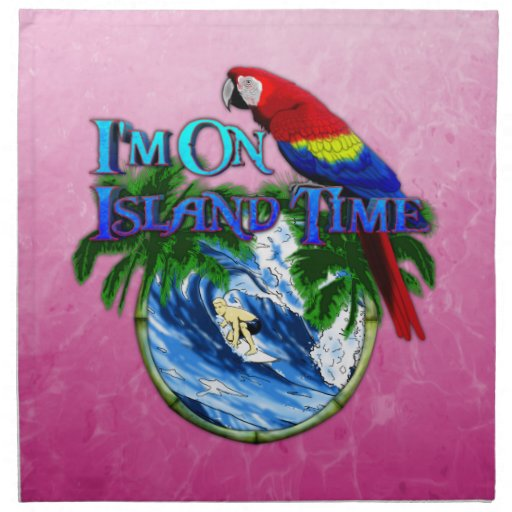 Pink Island Time Surfing Napkins