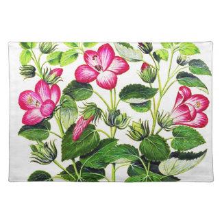 Pink Italian Hibiscus flowers, vintage print Placemat