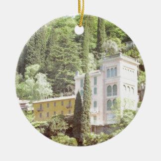Pink Italian Hillside Villa Ceramic Ornament