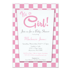 Pink It's A Girl 50s Diner Baby Shower Invitation