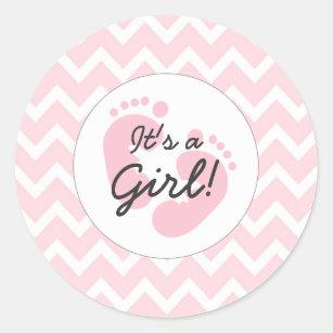 Pink Itu0027s A Girl Baby Shower Envelope Seals