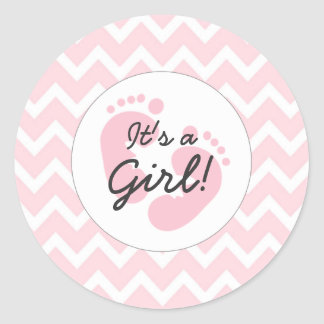 pink it's a girl baby shower envelope seals sticker