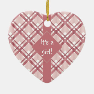 "Pink ""It's a Girl"" babyshower ornament"