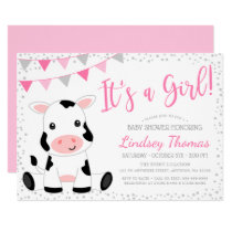 Pink It's a Girl Cow Baby Shower Invitation