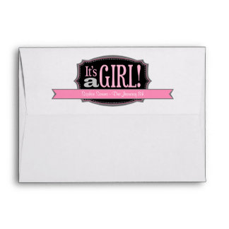 Pink It's a Girl Due Date Baby Shower Envelopes