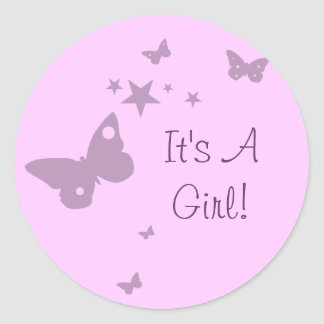 Pink It's A Girl Pink Butterfly Baby Girl Stickers