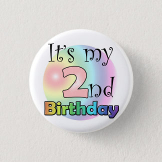 Pink It's my 2nd Birthday Button