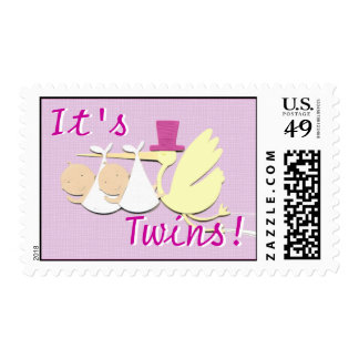 "Pink ""It's Twins"" Stamps"