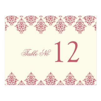 Pink Ivory Arabesque Damask Table Number Card