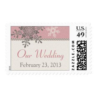 Pink Ivory Brown Snowflake Winter Wedding Postage