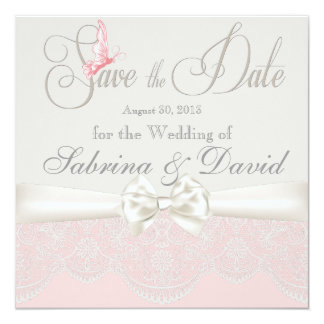 Pink & Ivory Butterflies and Lace Save the Date Invitation