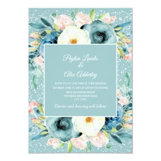 Pink Ivory Cream Floral Stardust Teal Wedding Invitation