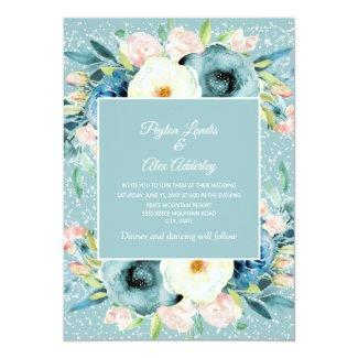 Pink Ivory Cream Floral Stardust Teal Wedding Invitation