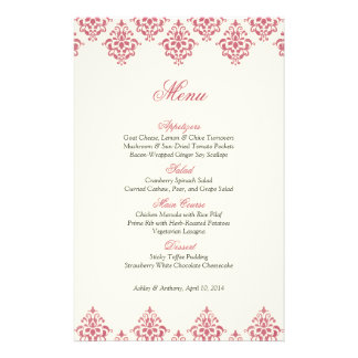 Pink Ivory Damask Arabesque Wedding Menu Card