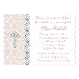 Pink Ivory Damask Cross Baby Girl Christening Card