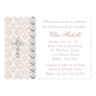 "Pink Ivory Damask Cross Baby Girl Christening 5"" X 7"" Invitation Card"