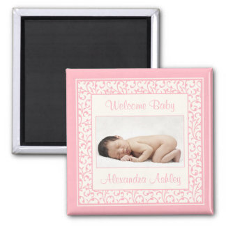 Pink Ivory Floral Damask Baby Photo Magnet
