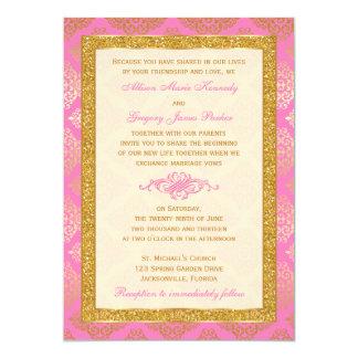 Pink, Ivory, Gold Glitter, Damask Wedding Invite