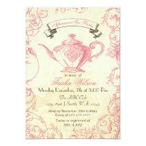 Pink Ivory Roses vintage afternoon Tea Invites