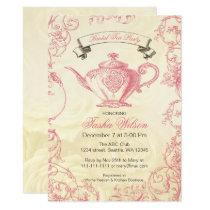 Pink Ivory Roses vintage Bridal Tea Party Invitation