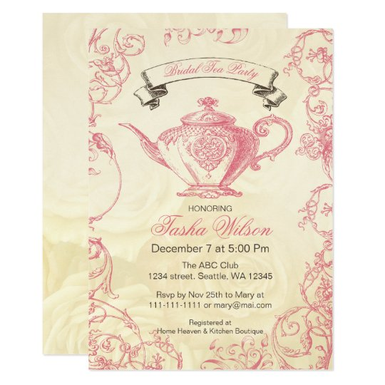 Pink Ivory Roses Vintage Bridal Tea Party Invitation