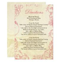 Pink Ivory Roses vintage wedding details card