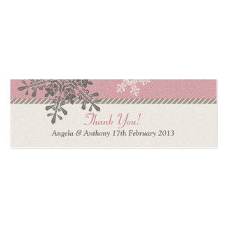 Pink Ivory Snowflake Winter Wedding Favor Tags Double-Sided Mini Business Cards (Pack Of 20)