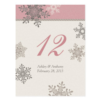 Pink Ivory Snowflake Winter Wedding Table Card Postcard