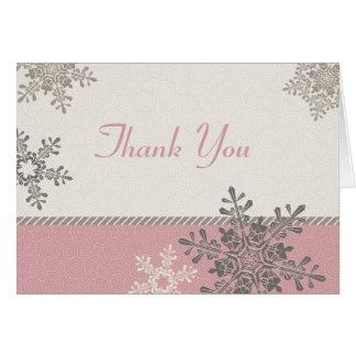 Pink Ivory Snowflake Winter Wedding Thank You Card
