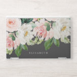 """Pink Ivory  Watercolor Floral Gray and Your Name HP Laptop Skin<br><div class=""""desc"""">A cascade of watercolor flowers like peonies and roses in feminine shades of white,  ivory and pink and green foliage adorn this stunning skin for your new laptop. Add your name using the template. Feminine and very trendy for a real girlboss!</div>"""