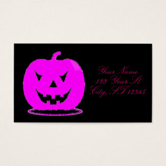 Pink Jack o'lantern Halloween Thunder_Cove Business Card