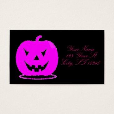 Halloween Themed Pink Jack o'lantern Halloween Thunder_Cove Business Card