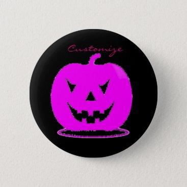 Halloween Themed Pink Jack o'lantern Halloween Thunder_Cove Button