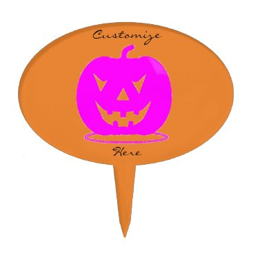 Halloween Themed Pink Jack o'lantern Halloween Thunder_Cove Cake Topper