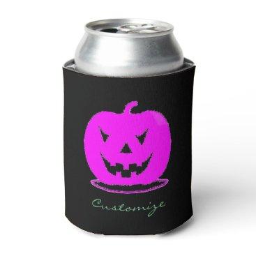 Halloween Themed Pink Jack o'lantern Halloween Thunder_Cove Can Cooler