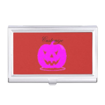 Halloween Themed Pink Jack o'lantern Halloween Thunder_Cove Case For Business Cards