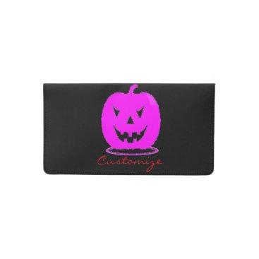 Halloween Themed Pink Jack o'lantern Halloween Thunder_Cove Checkbook Cover