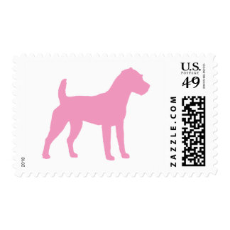 Pink Jack Russell Terrier Silhouette Postage Stamp