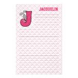 "Pink Jackrabbit Mongram ""J"" Lined Stationery"