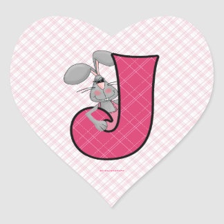 "Pink Jackrabbit Monogram ""J"" Heart Stickers"