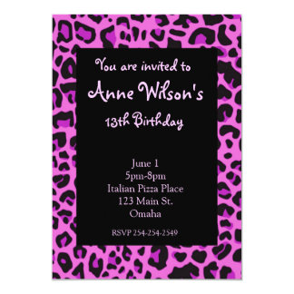 Pink Jaguar Print Girls Invitation