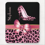 """Pink Jaguar Stilettos Custom Mouse Pad<br><div class=""""desc"""">Stylish mouse pad with graphics of a pink and black jaguar pattern, on the bottom half of the mouse pad and a solid black background, on the top. A pink and gold tone satin looking ribbon and bow, runs across the middle of the pad and fashionable pink jaguar print stiletto...</div>"""