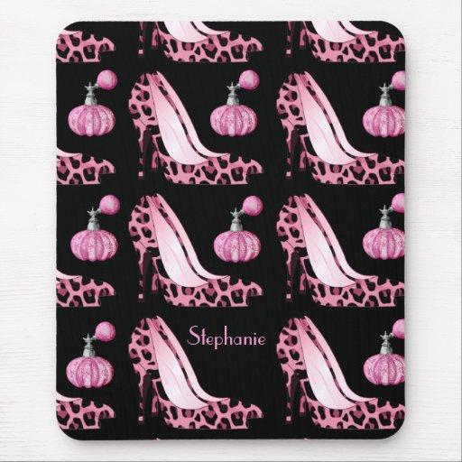 Pink Jaguar Stilettos & Purfume Bottles Custom Mouse Pads