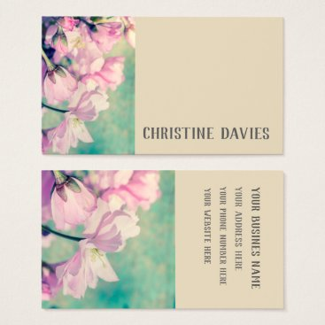 Professional Business Pink Japanes cherry blossom, floral business card